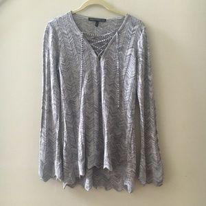 White House Black Market Silver Sparkle Sweater